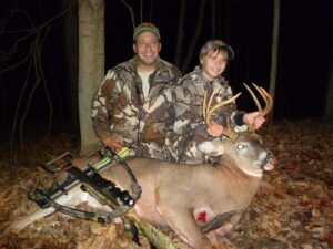 Greg Abbas and his daughter, Alyssa, with Alyssa's first buck.